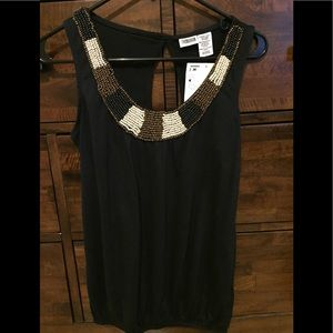 Route 66 black top with beading